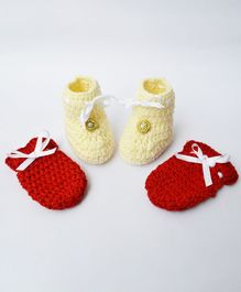 Love Crochet Art Flower Applique Booties & Mittens Set - Red & Cream