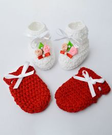 Love Crochet Art Flower Applique & Lace Design Booties & Mittens Set - Red & White