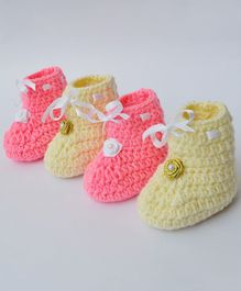 Love Crochet Art Flower Applique Booties Set - Pink & Cream