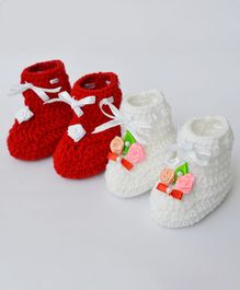 Love Crochet Art Flower Applique Booties Set - Red & White