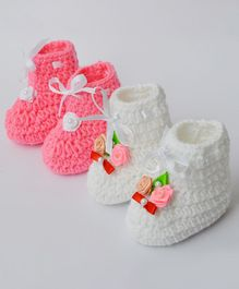 Love Crochet Art Lace & Flower Applique Booties Set - Pink & White