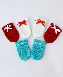 Love Crochet Art Set Of 3 Lace Design Mittens - Multi Color