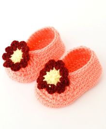 Love Crochet Art Flower Applique Booties - Peach