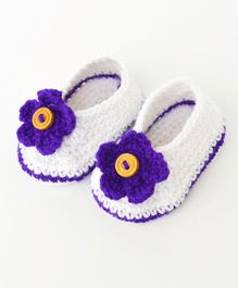 Love Crochet Art Flower & Button Design Booties - White & Purple