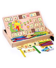 Yamama Wooden Multi Functional Learning Box - Beige & Multi Colour