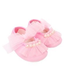 Daizy Pearl Applique Ribbon Closure Booties - Pink