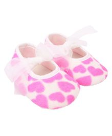Daizy Heart Printed Booties - Pink