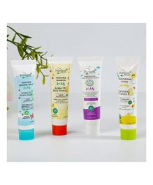 Donum Naturals Baby Kits- Complete Baby Care ,Daily Use Kit of Moisturizing Cream,Lotion & Shampoo Pack of 4 - 10 ml & 10 grams