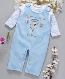 ToffyHouse Dungaree Romper With Inner Tee Teddy Bear Print - Light Blue
