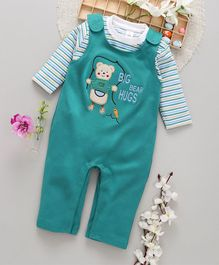 ToffyHouse Dungaree Style Embroidered Romper With Striped Tee - Green