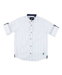 Urban Scottish Full Sleeves Anchor Printed Shirt - White