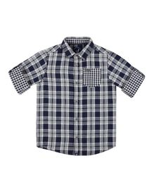 Urban Scottish Checkered Full Sleeves Shirt - Navy Blue