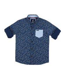 Urban Scottish Floral Print Full Sleeves Shirt - Blue