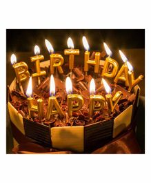 Amfin Happy Birthday Alphabets Candle Pack of 13 - Golden