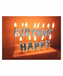 Amfin Happy Birthday Alphabets Candle Pack of 13 - Silver