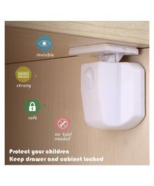Babypro Magnetic Locks With Single Key Pack of 4 - White