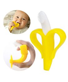 Buddsbuddy Banana Shaped Silicone Teether With Case - Yellow