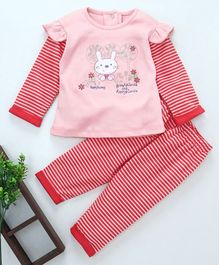 Baby GO Full Sleeves Striped Night Suit Bunny Patch - Pink Red