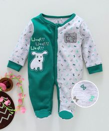 Baby Go Full Sleeves Footed Sleepsuit Puppy Patch - Green