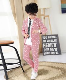Awabox Full Sleeves All Over Triangle Print Coat & Bottom Set - Pink