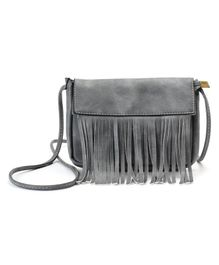 Little Hip Boutique Tassel Sling Bag - Grey