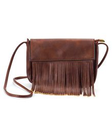 Little Hip Boutique Tassel Sling Bag - Brown