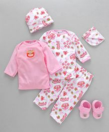 Montaly Clothing Gift Set Bear Embroidery Pink - 6 Pieces