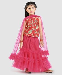 Barbie By Many Frocks & Indo Western Lehenga Choli With Dupatta - Pink & White