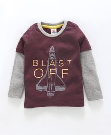 Scampy Blast Off Print Full Sleeves Tee - Maroon