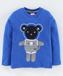 Scampy Full Sleeves Astronaut Bear Print - Blue