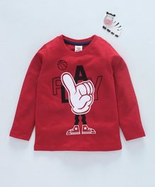 Scampy Play Printed Full Sleeves Tee - Red
