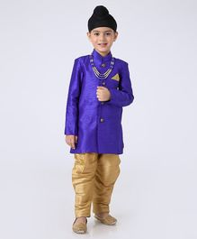 Ridokidz Full Sleeves Kurta And Pajama With Mala  - Dark Blue