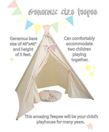 Mi Dulce An'ya Cotton Tent With Rods & Cushion - Cream