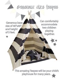 Mi Dulce An'ya Striped Cotton Tent With Rods & Cushions - Grey & Off white