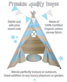Mi Dulce An'ya Striped Cotton Tent With Rods & Cushion - Blue & Off white