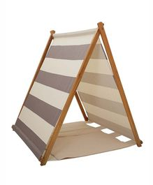 Mi Dulce An'ya Striped Cotton Tent With Rods & Matching Mat - Beige & Cream