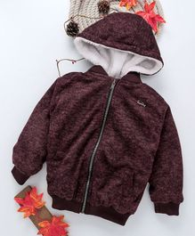 Gini & Jony Full Sleeves Hooded Jacket With Detachable Hood - Dark Brown