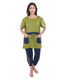 9teenAGAIN Nursing Night Suit Set - Dark Green & Navy Blue