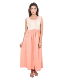 db549d9400 9teenAGAIN Striped Sleeveless Nursing Nighty - Peach