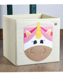 My Gift Booth Storage Box Unicorn Design - Cream