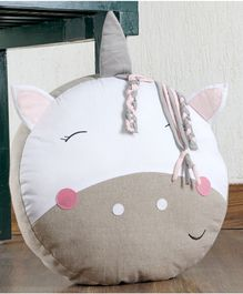 My Gift Booth Unicorn Shaped Cushion - Beige & White
