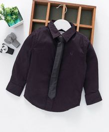Gini & Jony Full Sleeves Shirt With Tie - Dark Purple
