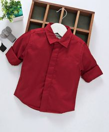 Gini & Jony Full Sleeves Solid Shirt - Red