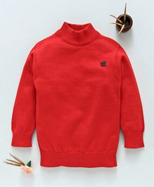 Mom's Love Full Sleeves Solid Color Sweater - Red