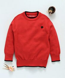 Mom's Love Full Sleeves Pullover Sweater - Red