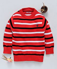 Mom's Love Pullover Striped Sweater - Red