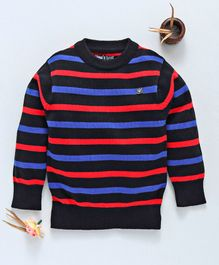 Mom's Love Pullover Striped Sweater - Navy Blue