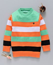 Mom's Love Full Sleeves Striped Sweater - Green Orange