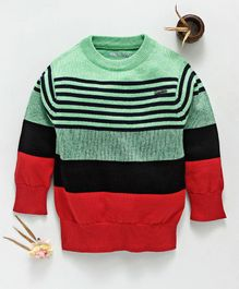 Mom's Love Full Sleeves Striped Pullover Sweater - Green Red