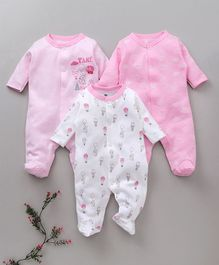 I Bears Full Sleeves Footed Romper Parahute Print Pack of 3 - Pink White